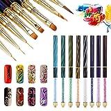8 x Pinceles para Uñas Nail Art Pinceles UV Gel Liner Pintura gradientes Pincel Lápiz Nail Art Set Manicura Herramientas acrílico lápices Brush Kits con Cat ojos brillantes Mango