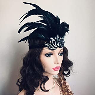 Asooll 20s Feather Headband Vintage Black Crystal Headpiece Flapper Great Gatsby Headdress Prom Head Accessories for Women