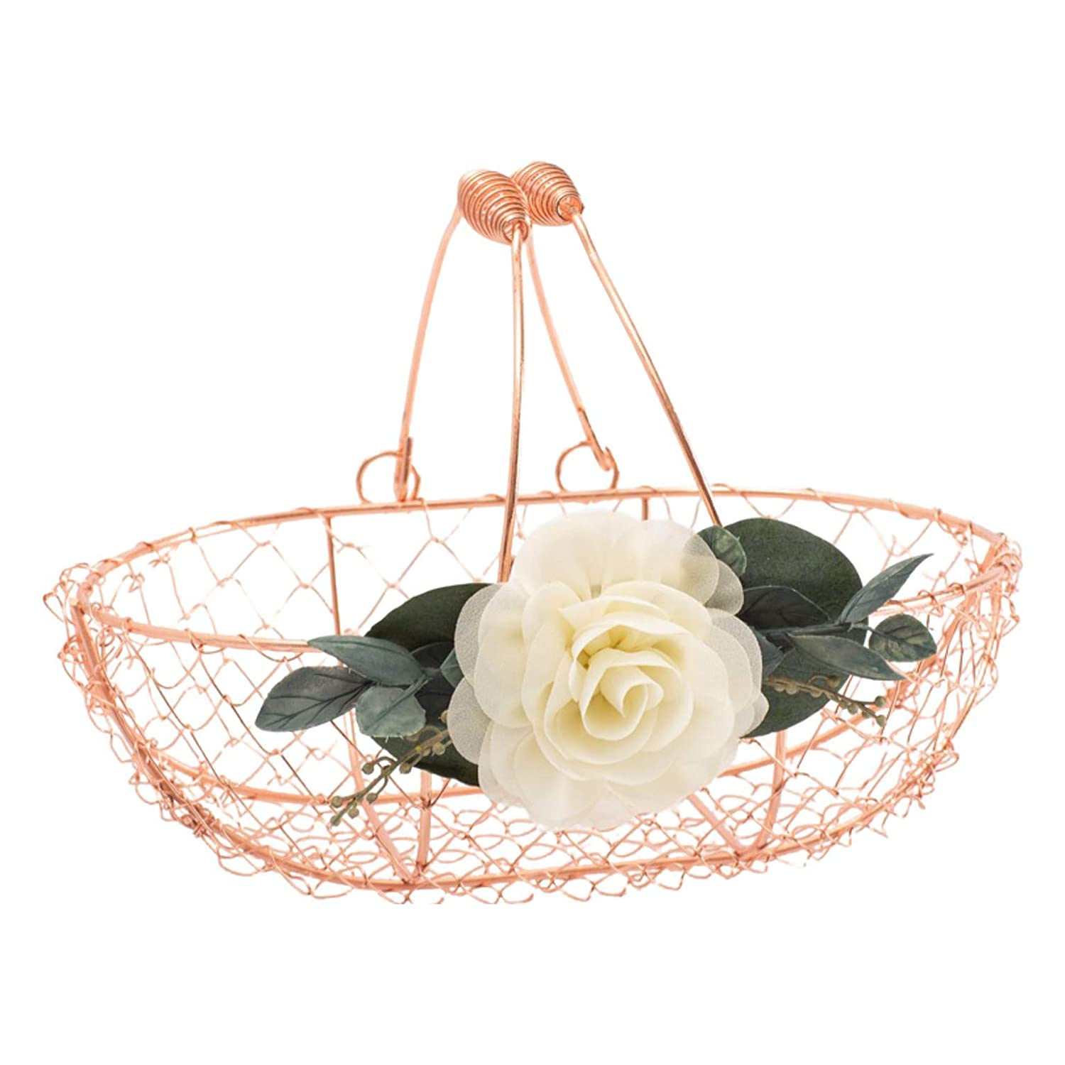 Rose Gold Flower Girl Portland Mall Copper - Max 72% OFF Basket Wire