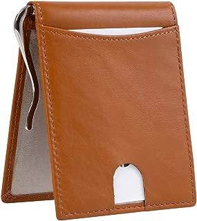 Men's RFID Blocking Leather Card Wallet Slim Minimalist Bifold Pocket Wallet Brown