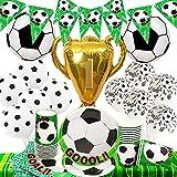 Forniture per Feste di Calcio Set 55 Pezzi Servizio da Tavola Tema Sportivo per Compleanno Bambini Stoviglie Include Piatti Tazze Tovaglioli Palloncino Tovaglia e Banner(10 Ospiti)
