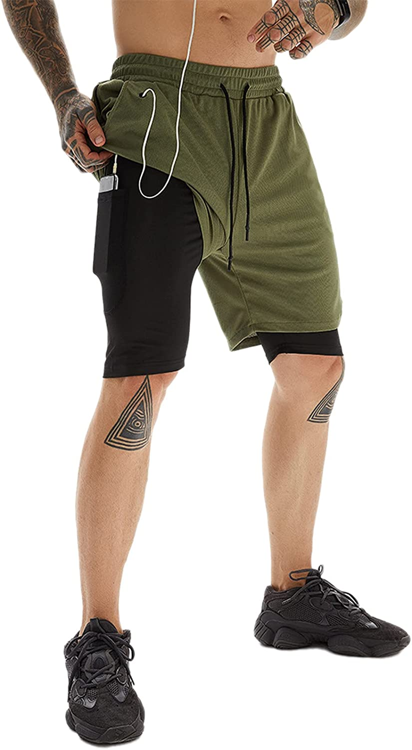 WSLCN Men's 2-in-1 Running Shorts Quick Dry Breathable with Inner Compression