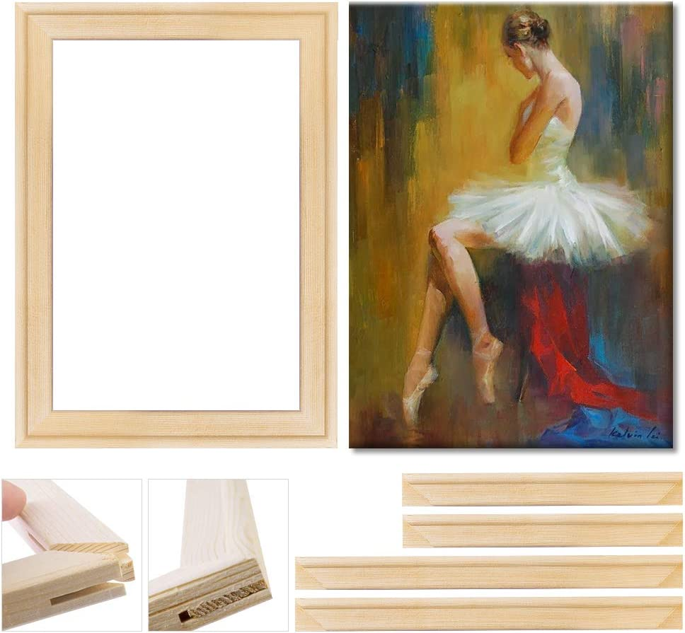 Canvas Stretcher Bars Set, Wood Frame Canvas DIY, Solid Wooden Stretcher Bars for Oil Paintings Poster Prints, Canvas Tools Arts Accessory Materials, Home Studio Decor 12x12