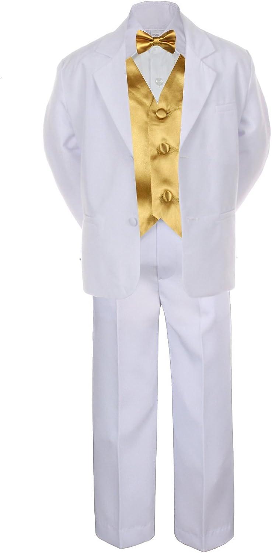 7pc Gold Vest Bow Tie Boy Baby Toddler Kid White Formal Suit Tuxedo S-20