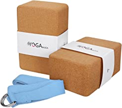 JBM Yoga Blocks 2 Pack Plus Strap Cork Yoga Block Yoga Brick, Natural & Eco-Friendly Cork Yoga Block to Support and Deepen...