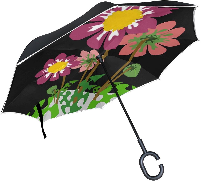Double Layer Ingreened Clip Art Flor Flora Flower Nature Plant Umbrellas Reverse Folding Umbrella Windproof Uv Predection Big Straight Umbrella for Car Rain Outdoor with CShaped Handle