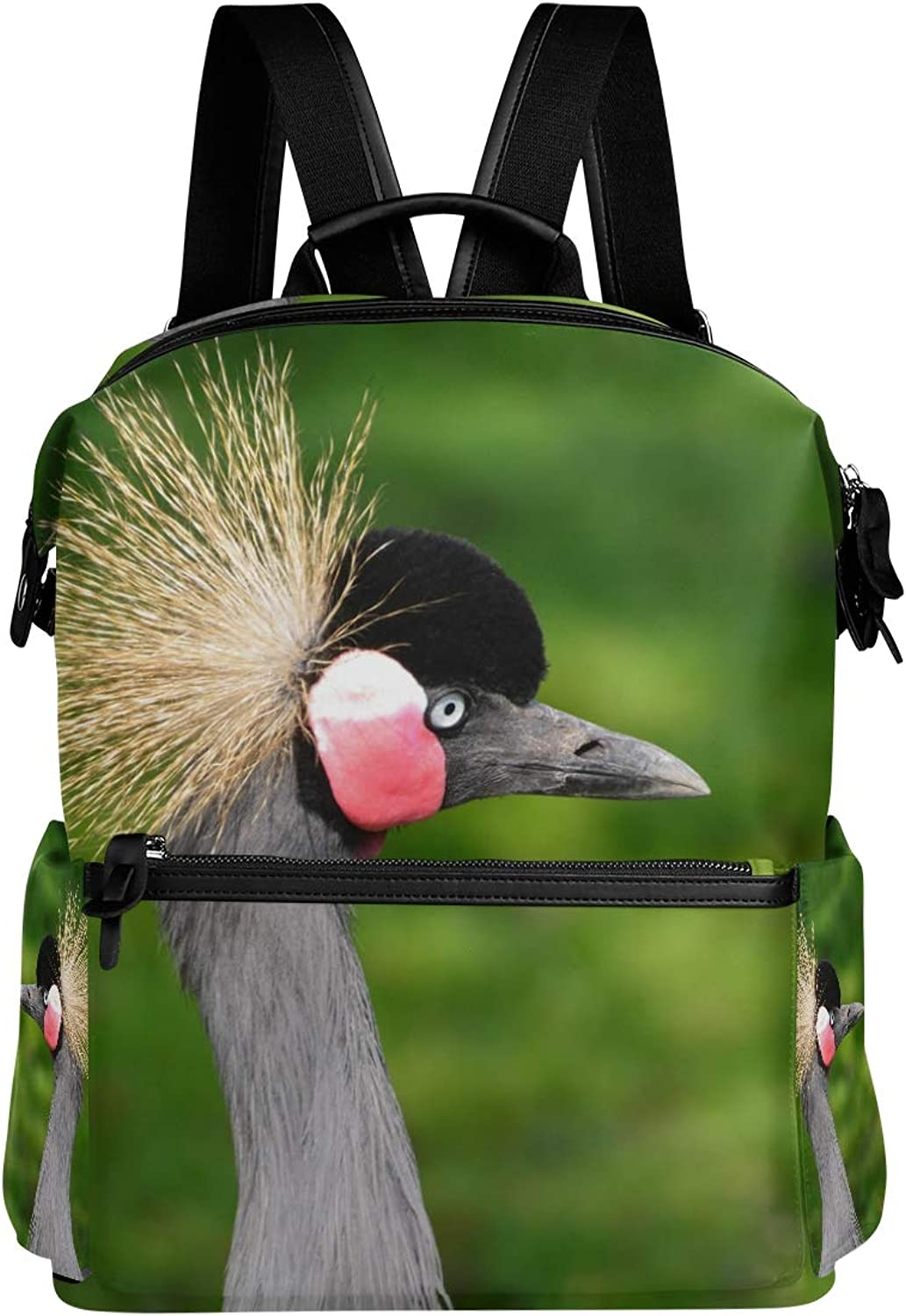 MONTOJ Grey Crowned Crane Leather Travel Bag Campus Backpack
