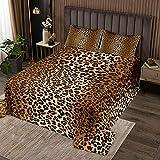 Leopardenmuster Tagesdecke 240x260cm Luxus Geparden Bedruckt Bettüberwurf Für Mädchen Frauen Wildtier Thema Steppdecke Wildlife Stil Dekor