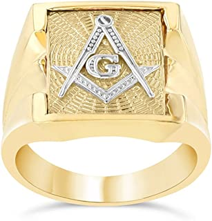 Men's Masonic Freemason Square & Compass Ring in Solid 14k Two-Tone Yellow Gold