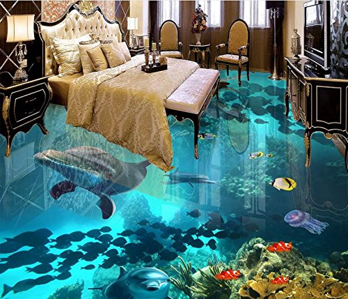 LWCX Customized Vinyl Flooring Water Proof 3D Murals Wallpaper for Living Room The Underwater World Wallpaper Modern 3D Flooring 150X105CM