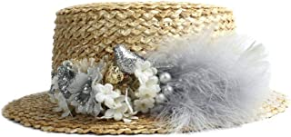 CHENDX High Quality Hat, New Ladies Flat Round Head Hat Fashion Sun Hat Straw Summer Beach Cap Solid Color Flower Feather Decoration Ladies Hat (Color : Silver, Size : 56-58CM)