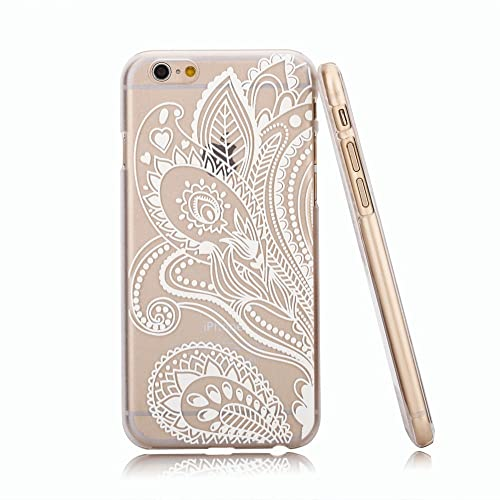 75f1b7d79 Amazon.com: iPhone 6S Case,iPhone 6 Case,Hundromi iPhone 6/6S Plastic Clear Case  Cover Henna White Floral Paisley Flower Mandala for iPhone 6/6S(4.7- inch):  ...
