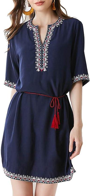 AK Blusa Tipo túnica con Bordado Mexicano Bohemio para Mujer ...