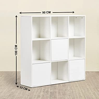Home Centre Helios Neva White Engineered Wood Book Cabinet with 9 Shelves