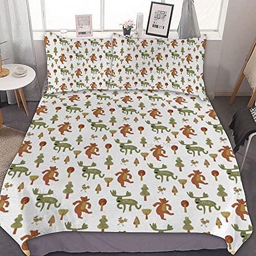 Odeletqweenry Juego de funda de edredón, tamaño super king, imagen de osos de alces y pájaros adultos con árboles, canela pálida, juego de cama decorativo de 3 piezas con 2 fundas de almohada