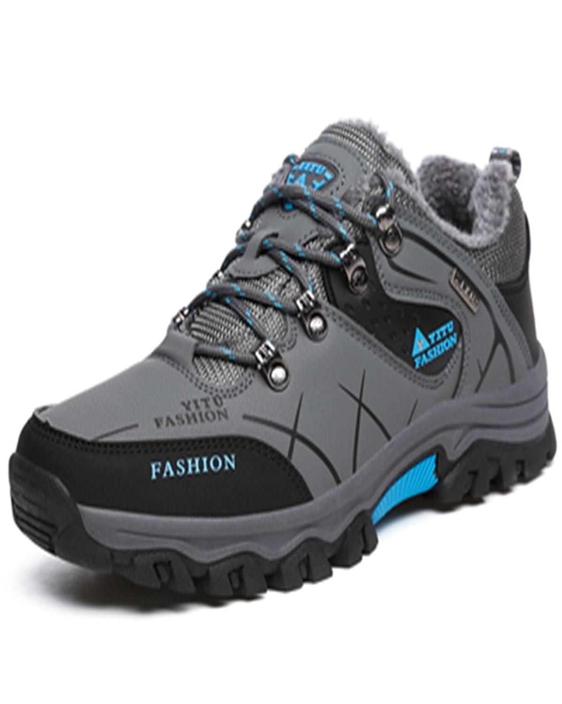 トレッキングシューズ 登山靴 メンズ  ハイキングシューズ 防水 防滑 ウォーキングシューズ アウトドア トラベル ハイカット キャンプ シューズ 暖かい靴 大きいサイズ クッション性/通気性  グレー裏起毛 26.0CM
