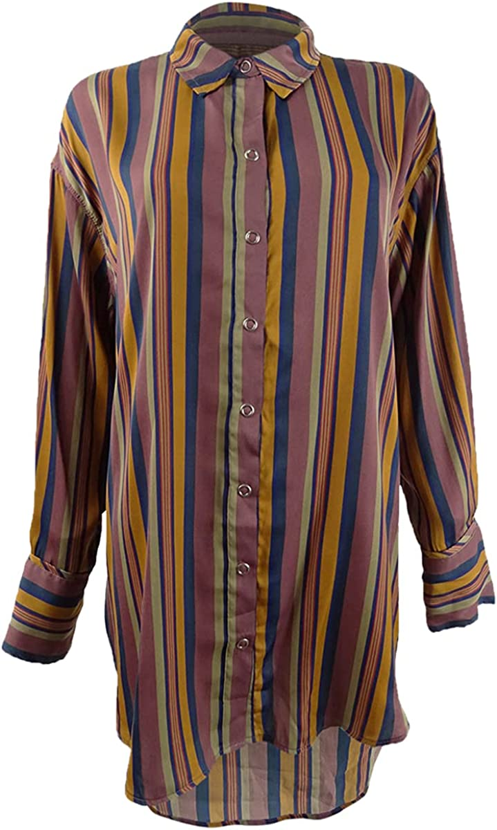 We The Free Womens All Smiles Sateen Striped Button-Down Top Blue M