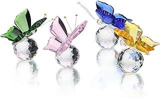 H y D cristal Flying Mariposa con bola de cristal Estatua de adorno de Base figura de colección de la cristal Animal Coleccionable Pack de 4