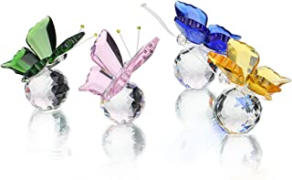 H&D Crystal Flying Butterfly with Crystal Ball Base Figurine Collection Cut Glass Ornament Statue Animal Collectible Pack of 4