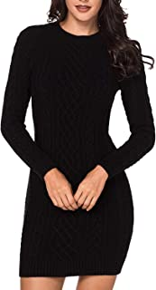 Women's Slim Fit Cable Knit Long Sleeve Sweater Dress