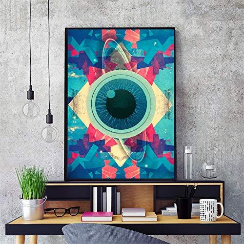 Psychedelic abstraktes Auge Baumwolle Leinwand Kunstdruck Malerei Poster Wandmalerei Wohnzimmer Dekoration Hauptdekoration kein Rahmen Leinwand Malerei A112 60x80cm