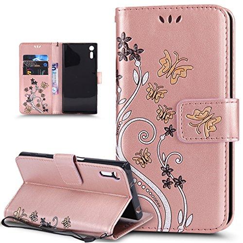 Kompatibel mit Schutzhülle Sony Xperia XZ/XZs Hülle Handyhülle Tasche Hülle,Bunte Gemalt Prägung Schmetterlings Blumen PU Lederhülle Flip Hülle Ständer Wallet Tasche Hülle Schutzhülle,Roségold