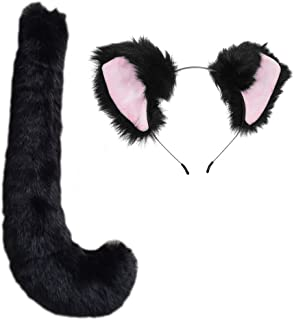 Party Cosplay Costume Fox Ears Faux Fur Hair Hoop Headband + Tail Set
