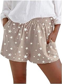 Doufine Women's Print Wide Leg Loose Casual Elastic Waist Shorts