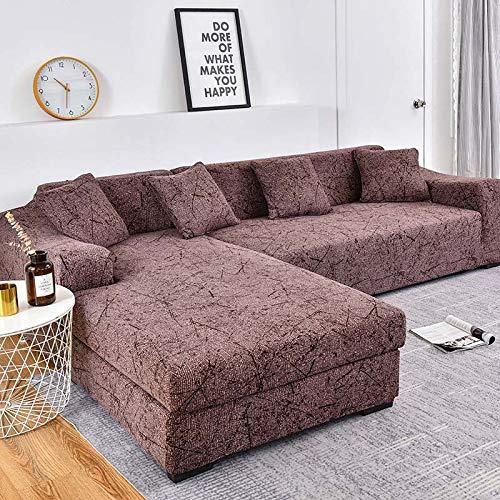 WXQY Funda de sofá de Esquina con patrón de Lino, Utilizada para la Funda del sofá de la Sala de Estar, sofá elástico Todo Incluido, sillón Chaise Longue A29 de 3 plazas