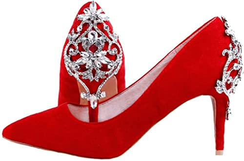 ZHRUI Frauen Retro Slip-on Slip-on Slip-on Applique rot Wildleder Brautkleid Schuhe UK 3.5 (Farbe   -, Größe   -)  Factory Outlet Store