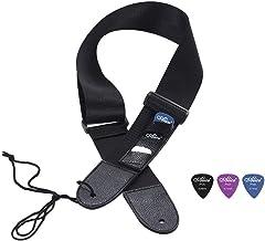 Guitar Strap Soft Adjustable Guitar Shoulder Strap With Real Leather Guitar Strap Lock Guitar Buttons and 3 Colorful Guitar Picks