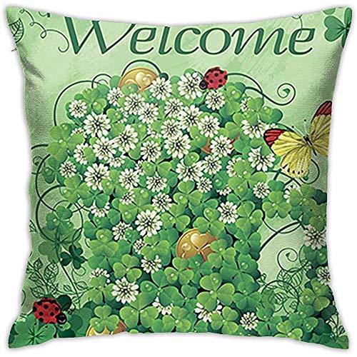 Gjiesh Happy St Patrick 's Day Shamrock Throw Cojín Funda Throw Pillow Case Diseño de Doble Cara 45x45cm Family Interior Sofa Car