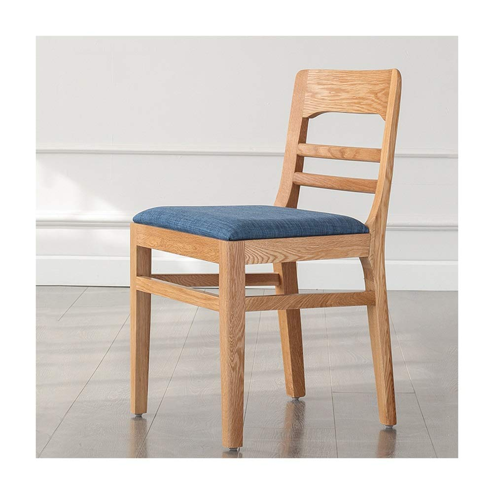 WYQSZ All Solid Wood Fabric Soft Wood Chairs, Simple Modern Oak
