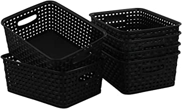 Begale Plastic Storage Basket for Household Organization, Set of 6, Black