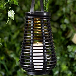 Solar Rattan Candle Lantern, Solar Powered Rattan Garden LED Lights,Flameless Candles Lamp, Multifunctional Plastic Rattan Hanging Lamps Energy Saving for Yard Patio Decorative (Pairs shaped)