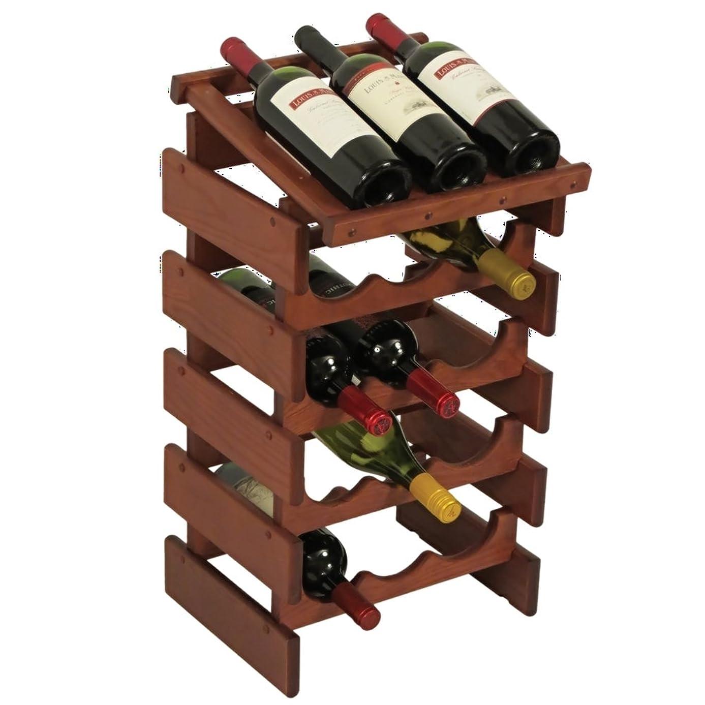 Wooden Mallet 15-Bottles Wine Rack with Display Top