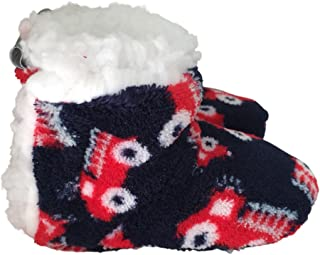 SKIDDERS Infant and Toddler Plush Sherpa Lined Booties with Gripper Bottoms