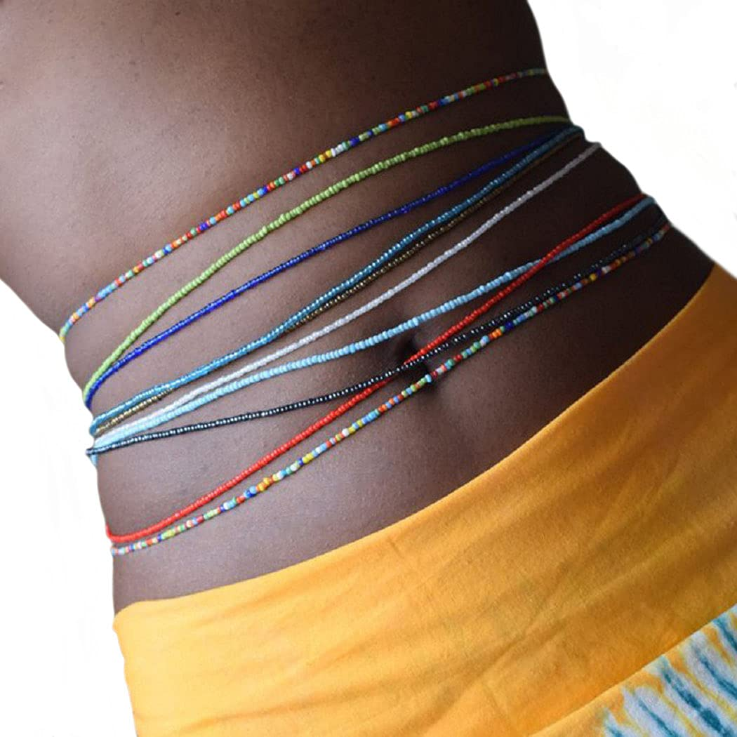 Twinklede Boho Beads Belly Waist Chain Colorful Elastic Layered Body Chains Set Festival Rave Summer Beach Bikini Body Chain Jewelry for Women and Girls (Pack of 12) (Multi-colored 1)