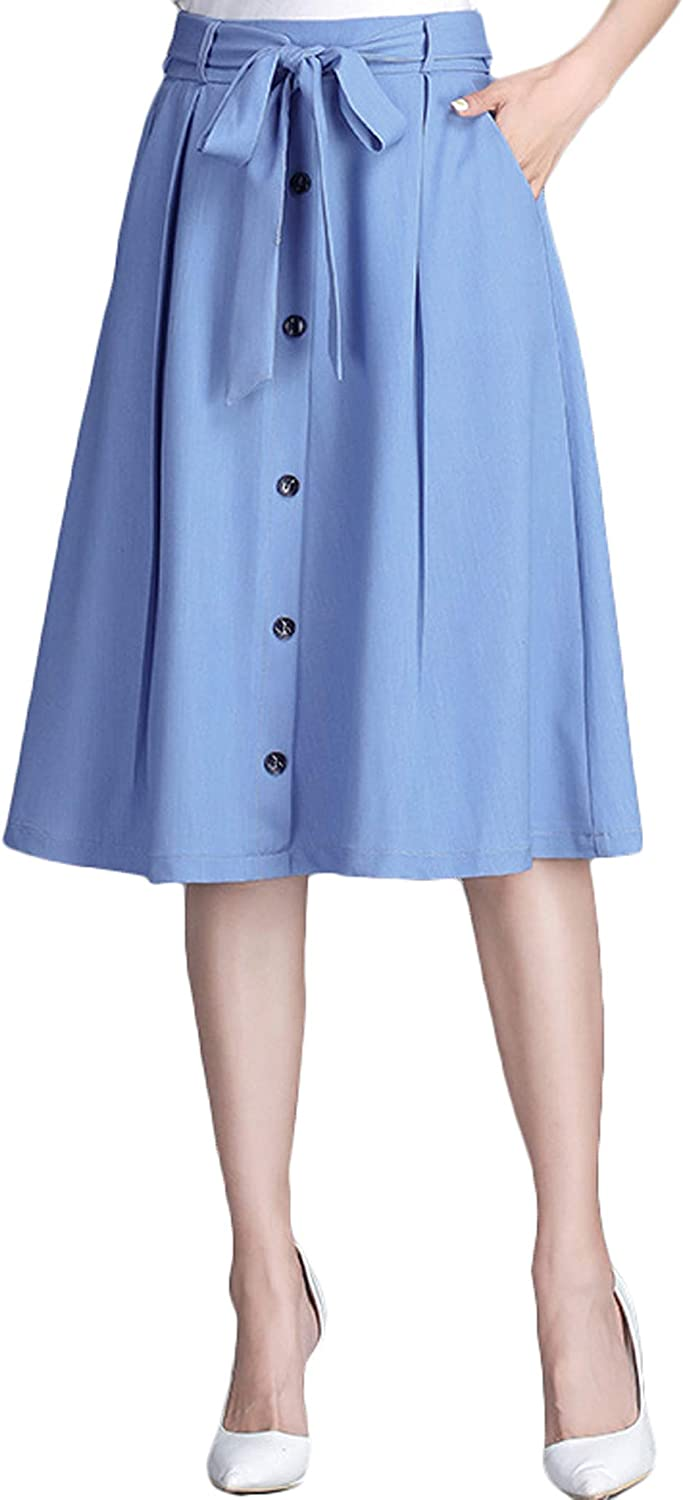 Youhan Women's Casual A-Line Button Front Drawstring Swing Jean Skirt