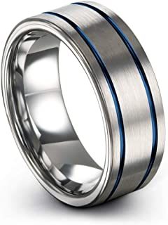 Tungsten Carbide Wedding Band Ring 8mm for Men Women Green Red Blue Purple Black Copper Fuchsia Teal Double Line Flat Cut Brushed Polished