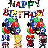 Suministros de fiesta de superhéroes Vengadores Decoración de fiestas,4 globos de papel...