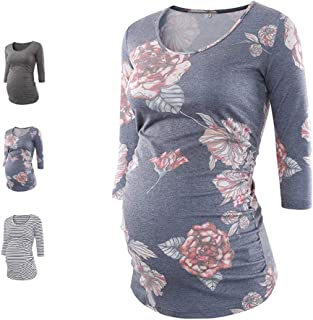 MAXIUSS Womens Cotton Baseball Crew Neck Short Sleeve Side Ruched Maternity Tunic Tops T Shirts Pregnancy Clothes