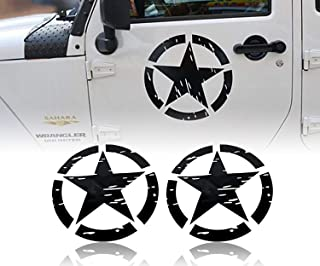 Hooke Road US Army Military Star Car Sticker Decals for Car/Truck/Ford F150/Jeep Wrangler - 2PCS(16.1 inch)