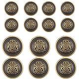 14 Piece Antiqued Bronze Metal Blazer Button Set - Crown Lion- for Blazer, Suits, Sport Coat, Uniform, Jacket 15mm 21mm