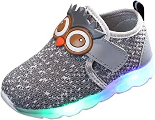 Sceoyche Baby LED Light Shoes, Kids Luminous Outdoor Running Shoes Boys Lightweight Walking Shoes Velcro Sneakers Girls Sp...