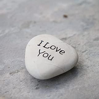 Garden Age Supply I Love You Engraved Stone Heart Shaped Beach Pebble Rock Sandblast Stone