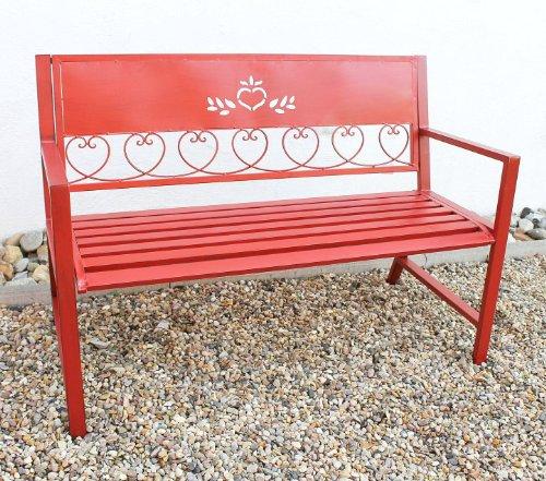 DanDiBo Gartenbank Passion Rot 121495 Bank Sitzbank 120cm aus Metall Eisen Blumenbank Garten - 3