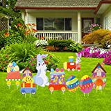 AuLinx Easter Yard Signs Decorations Outdoor Lawn Decorations with Stakes - Funny Bunny and Egg Corrugated Yard Signs Decor for Easter Hunt Game, Party Supplies Decor Ornaments, Easter Props(Easter-3)