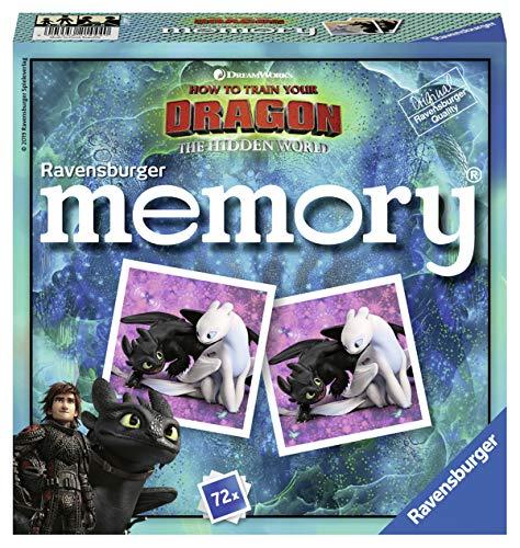 Ravensburger 21444 - Dragons 3 Memory, der Spieleklassiker für alle Dragons Fans, Kinofilm Drachenzähmen leicht gemacht 3, Merkspiel für 2-8 Spieler ab 4 Jahren