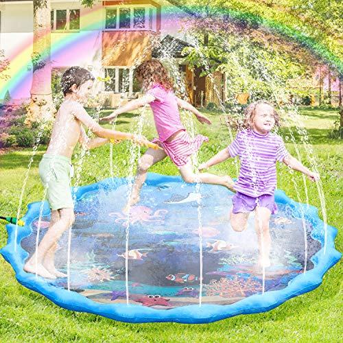 joylink Splash Pad, 172cm Chapoteo Almohadilla Aspersor de Jueg, Jardín de Verano Juguete Acuático para Niños Pulverización para Actividades Familiares Aire Libre Fiesta Playa Jardín